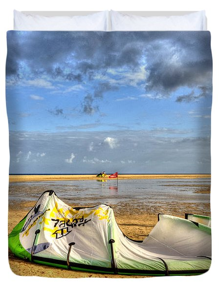 Duvet Cover featuring the photograph After Kiteboarding Session by Julis Simo