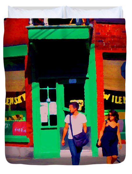 After Lunch At Wilenskys Restaurant Crossing Fairmount Montreal Street Scene Art Carole Spandau Duvet Cover by Carole Spandau