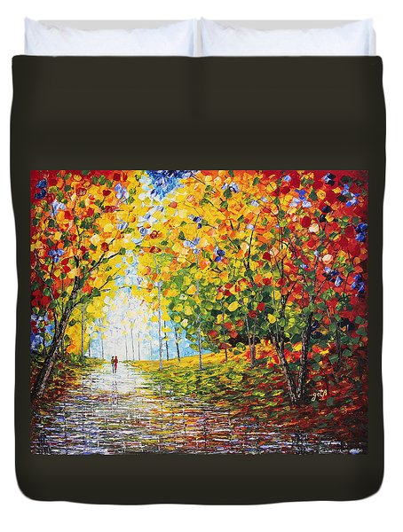 Duvet Cover featuring the painting After Rain Autumn Reflections Acrylic Palette Knife Painting by Georgeta Blanaru