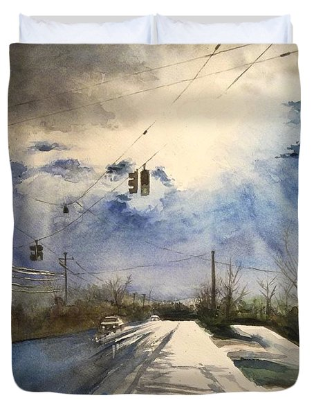 After Rain -on The Michigan Ave. Saline Michigan Duvet Cover by Yoshiko Mishina