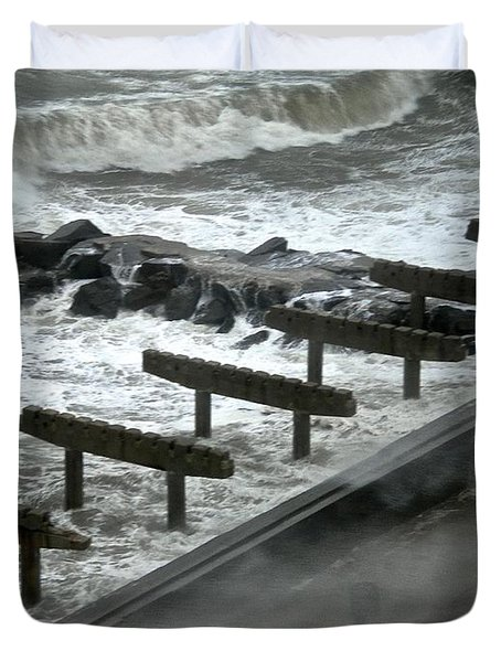 Duvet Cover featuring the photograph After Storm Sandy by Joan Reese