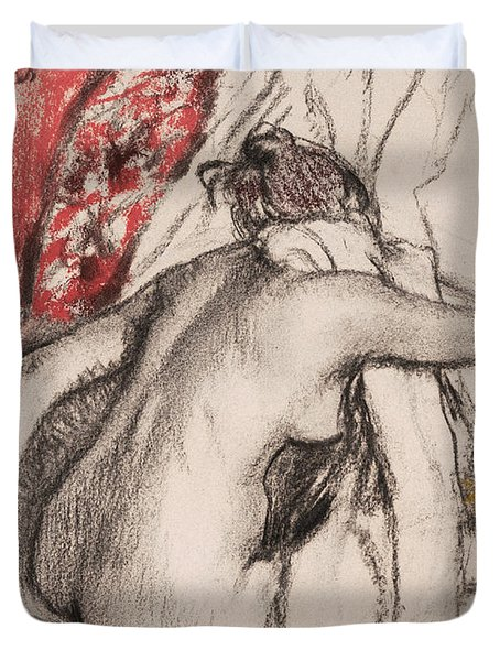 After The Bath.seated Woman Drying Herself Duvet Cover