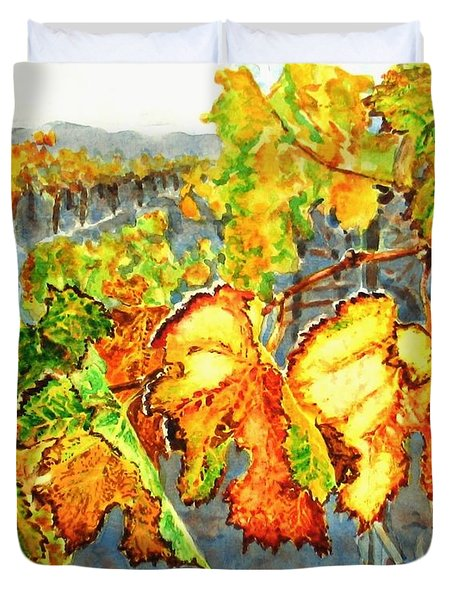 Duvet Cover featuring the painting After The Harvest by Karen Ilari