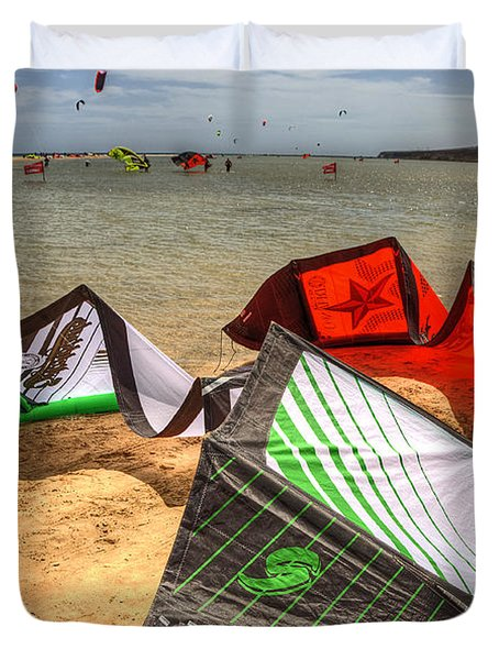 Duvet Cover featuring the photograph After The Kite Session by Julis Simo