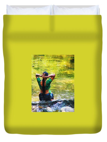 After The River Bathing. Indian Woman. Impressionism Duvet Cover by Jenny Rainbow