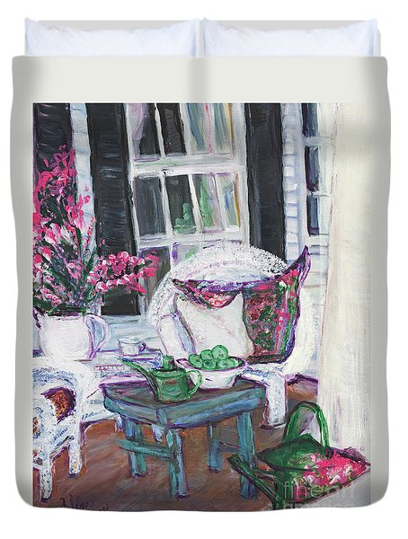 Afternoon At Emmaline's Front Porch Duvet Cover