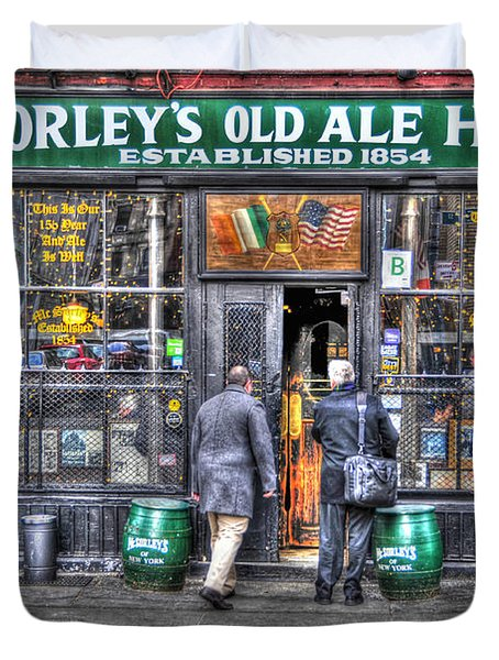 Afternoon At Mcsorley's Duvet Cover by Randy Aveille