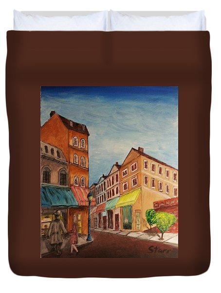 Afternoon Cafe Duvet Cover by Irving Starr
