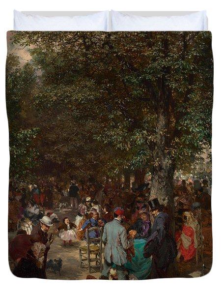 Afternoon In The Tuileries Gardens Duvet Cover by Adolph Friedrich Erdmann von Menzel