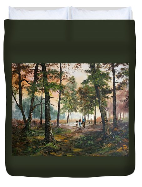 Afternoon Ride Through The Forest Duvet Cover