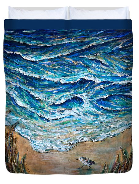 Duvet Cover featuring the painting Afternoon Tide by Linda Olsen