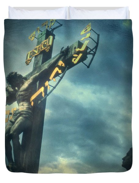 Agfacolor Jesus Duvet Cover by Taylan Apukovska