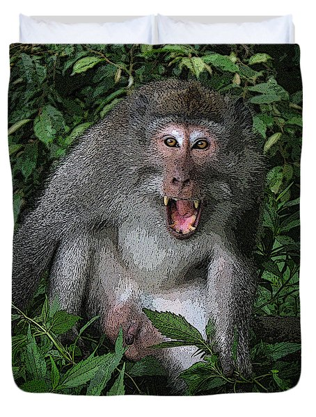Aggressive Monkey From Bali Duvet Cover by Sergey Lukashin