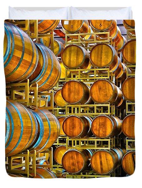 Aging Wine Barrels Duvet Cover