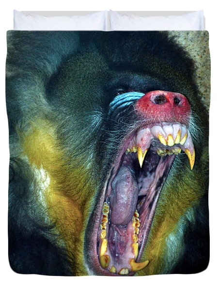 Agressive Mandrill Duvet Cover by Thomas Woolworth