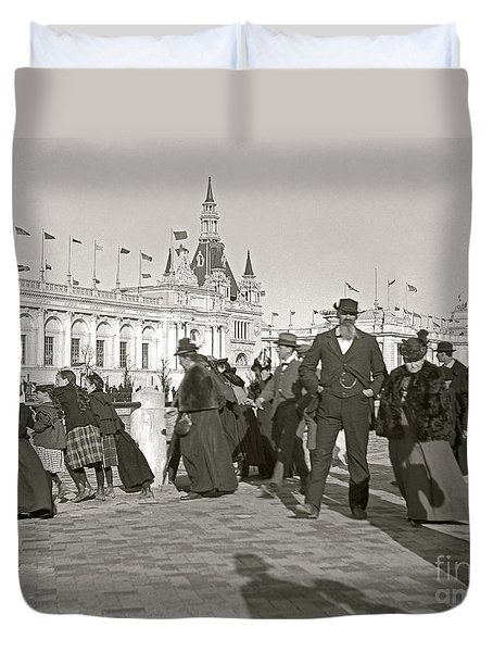 Duvet Cover featuring the photograph Agricultural Building Omaha Expo 1898 by Martin Konopacki Restoration