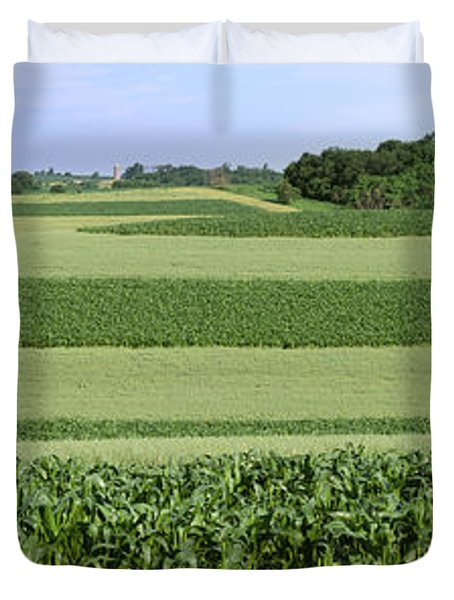 Agriculture - Contour Strips Of Mid Duvet Cover by Timothy Hearsum
