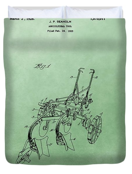 Agriculture Plow Patent Duvet Cover