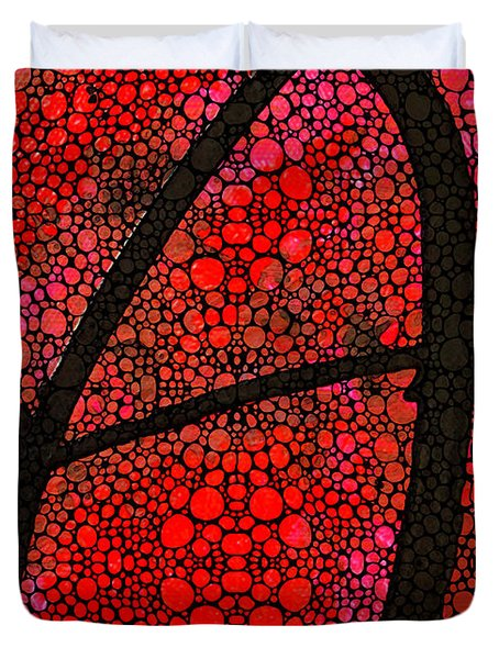 Ah - Red Stone Rock'd Art By Sharon Cummings Duvet Cover by Sharon Cummings