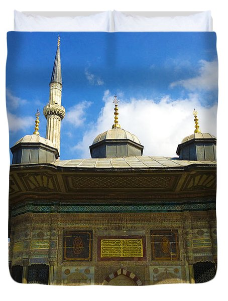 Ahmet II Fountain Next To Topkapi Palace Main Entry With A Minaret Of Hagia Sophia Palace Istanbul  Duvet Cover by Ralph A  Ledergerber-Photography