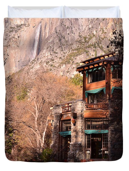 Ahwahnee And Yosemite Falls Duvet Cover by Debby Pueschel