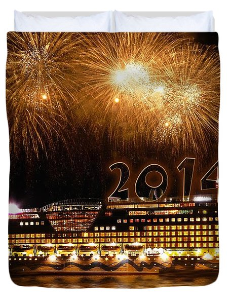 Duvet Cover featuring the photograph Aida Cruise Ship 2014 New Year's Day New Year's Eve by Paul Fearn