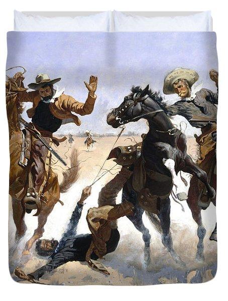 Aiding A Comrade Duvet Cover by Fredrick Remington