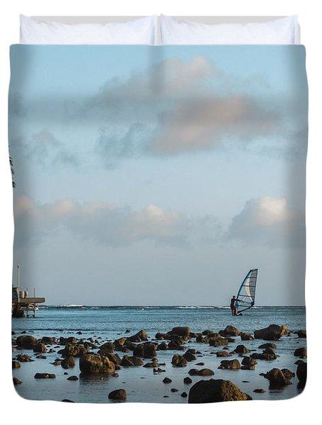 Aina Haina Windsurfer 1 Duvet Cover by Leigh Anne Meeks