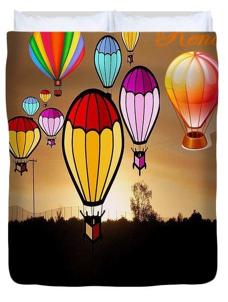 Air Balloons Reno Duvet Cover by Bobbee Rickard