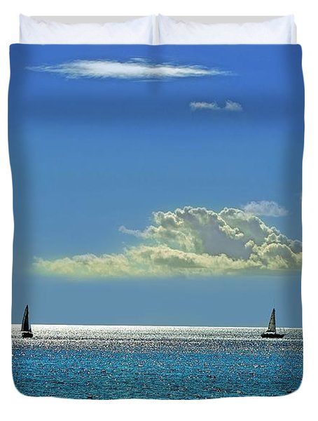 Duvet Cover featuring the photograph Air Beautiful Beauty Blue Calm Cloud Cloudy Day by Paul Fearn