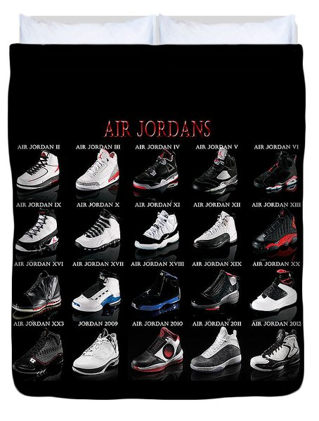 Duvet Cover featuring the digital art Air Jordan Shoe Gallery by Brian Reaves
