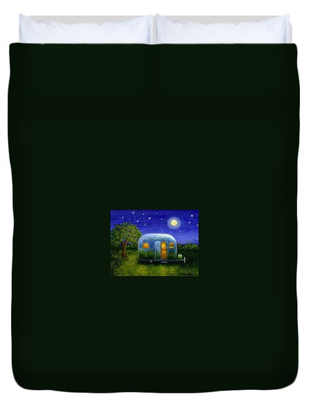Airstream Camper Under The Stars Duvet Cover by Sandra Estes