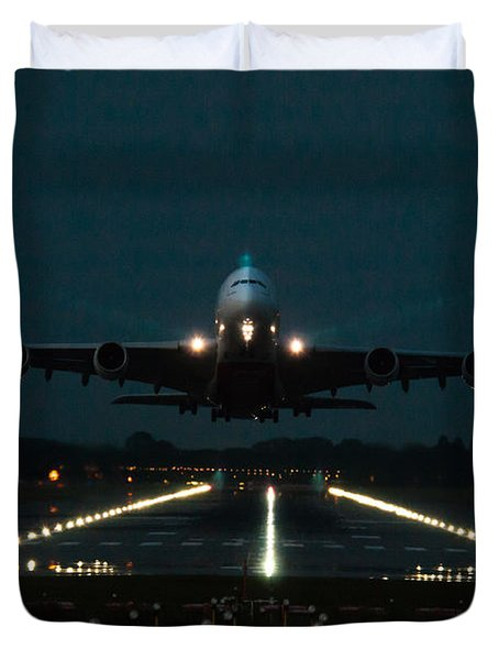 Airbus A380 Take-off At Dusk Duvet Cover