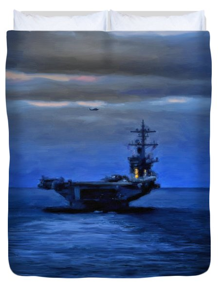Aircraft Carrier Duvet Cover by Michael Pickett