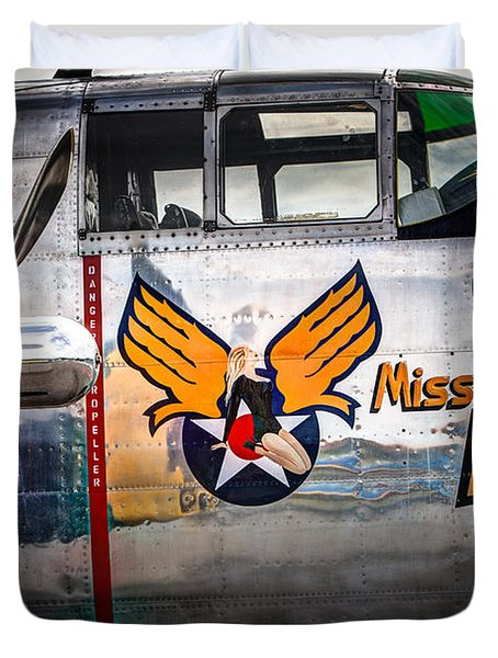 Aircraft Nose Art - Pinup Girl - Miss Hap Duvet Cover by Gary Heller