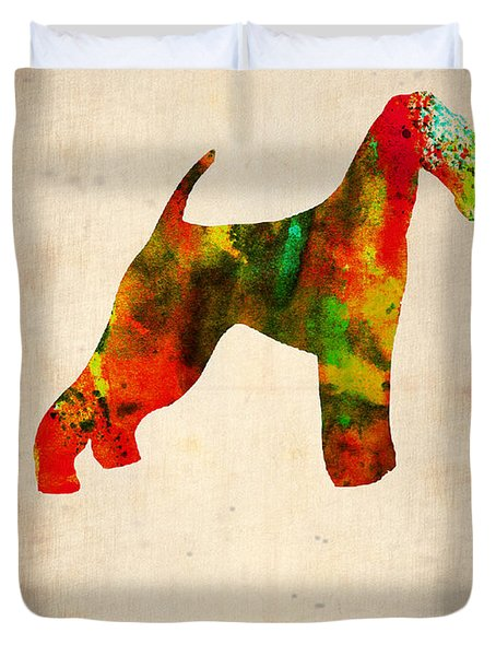 Airedale Terrier Poster Duvet Cover by Naxart Studio