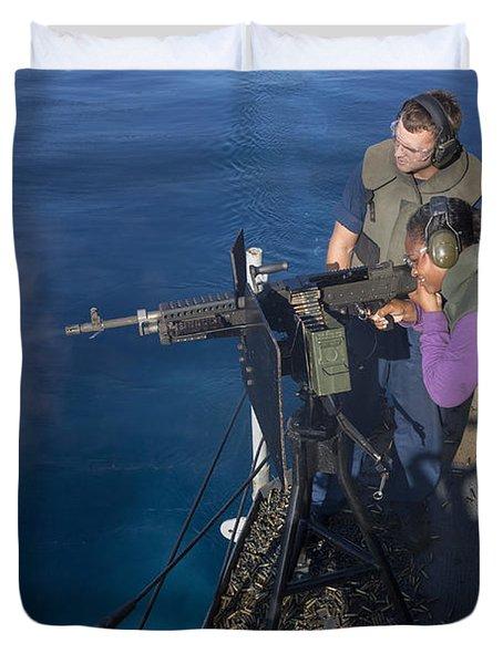 Airman Fires An M-240b Machine Gun Duvet Cover