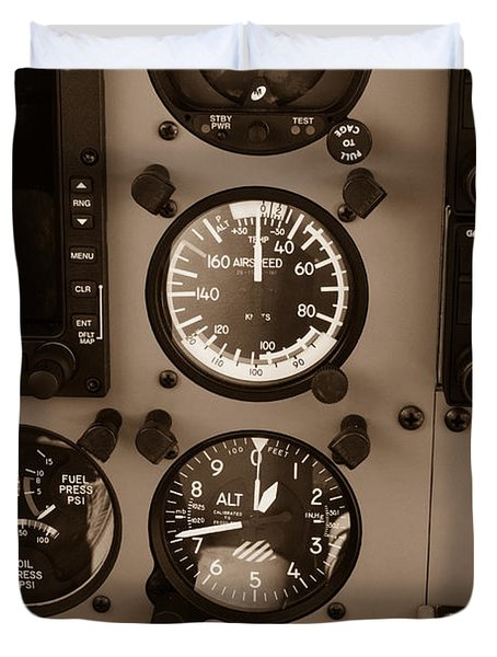 Duvet Cover featuring the photograph Airplane Controls by Darleen Stry