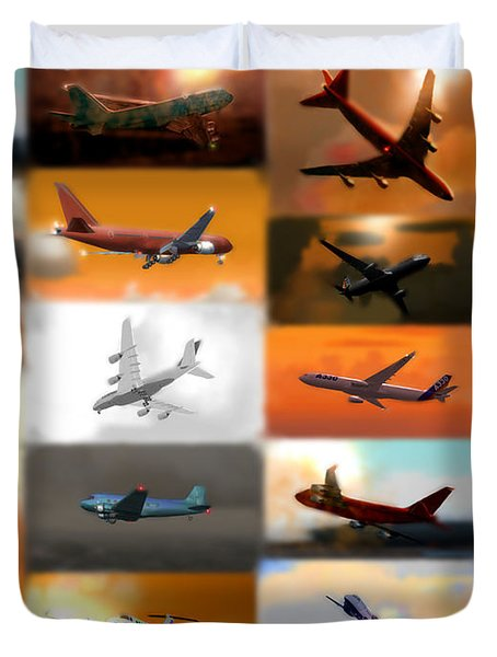 Airplanes Collage Duvet Cover by Marcello Cicchini