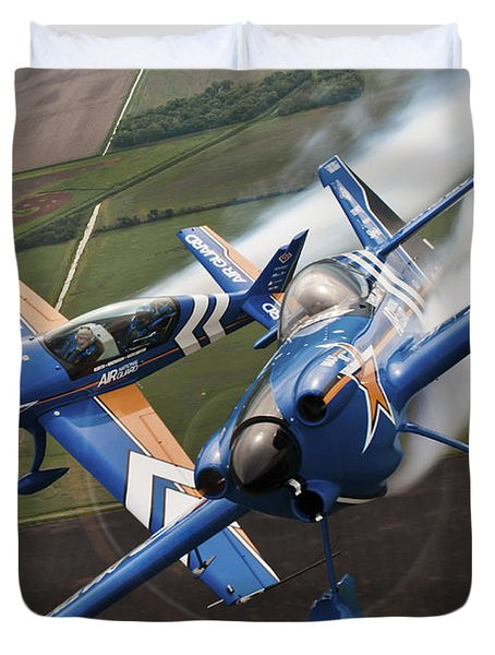 Airplanes Perform At The Sound Of Speed Duvet Cover by Stocktrek Images