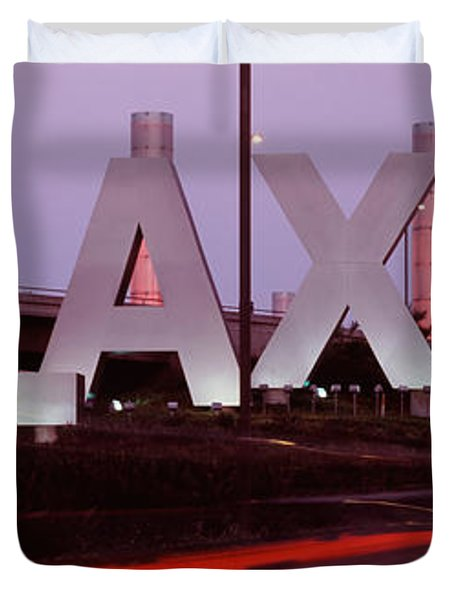Airport At Dusk, Los Angeles Duvet Cover