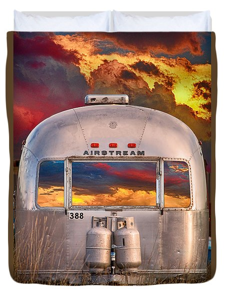 Airstream Travel Trailer Camping Sunset Window View Duvet Cover
