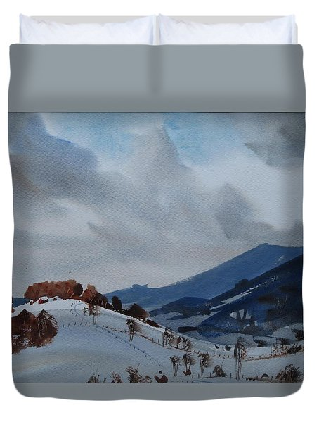 Duvet Cover featuring the painting Airyhill by Len Stomski