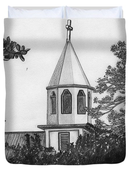 Duvet Cover featuring the drawing Ajeltake Steeple by Lew Davis
