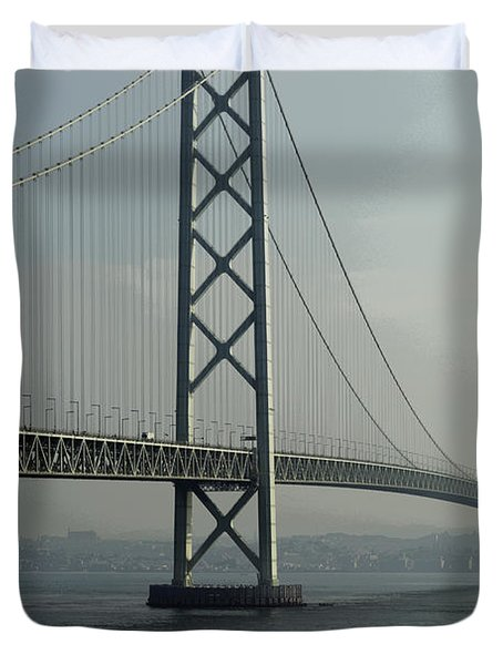 Akashi Kaikyo Bridge Posterization Duvet Cover by Daniel Hagerman