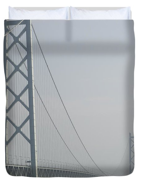 Akashi Kaikyo Suspension Bridge Of Japan Duvet Cover by Daniel Hagerman