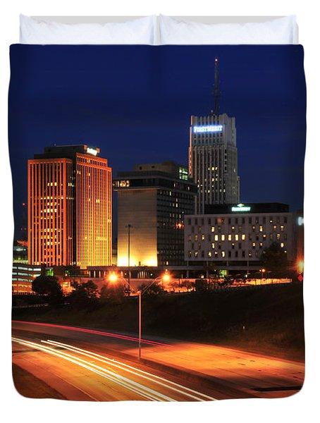 D1u-140 Akron Ohio Night Skyline Photo Duvet Cover
