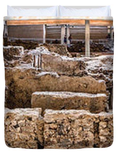 Akrotiri Archaeological Site In Santorini Duvet Cover