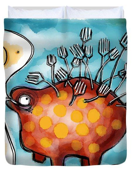 Al Dente Duvet Cover by Kelly Jade King