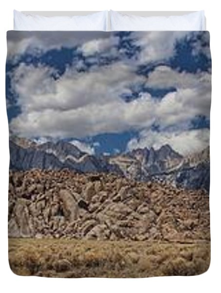 Alabama Hills And Eastern Sierra Nevada Mountains Duvet Cover by Peggy Hughes